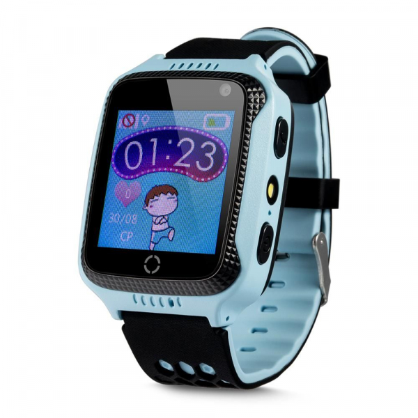 Ceas smartwatch GPS copii MoreFIT™ GW500x Pro , cu GPS si functie telefon, camera foto + lanterna, monitorizare spion, buton SOS, albastru + SIM prepay cadou 0