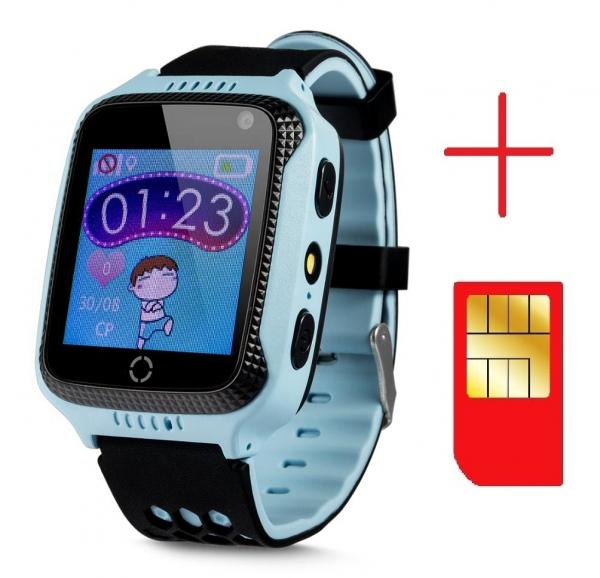 Ceas smartwatch GPS copii MoreFIT™ GW500x Pro , cu GPS si functie telefon, camera foto + lanterna, monitorizare spion, buton SOS, albastru + SIM prepay cadou 2