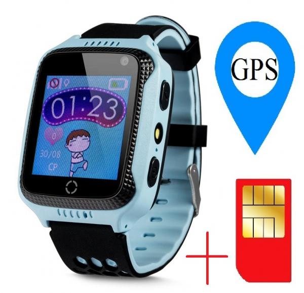 Ceas smartwatch GPS copii MoreFIT™ GW500x Pro , cu GPS si functie telefon, camera foto + lanterna, monitorizare spion, buton SOS, albastru + SIM prepay cadou 1