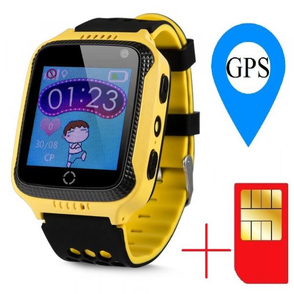 Ceas smartwatch GPS copii MoreFIT™ GW500x Pro , cu GPS si functie telefon, camera foto + lanterna, monitorizare spion, buton SOS, galben + SIM prepay cadou [1]