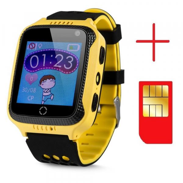 Ceas smartwatch GPS copii MoreFIT™ GW500x Pro , cu GPS si functie telefon, camera foto + lanterna, monitorizare spion, buton SOS, galben + SIM prepay cadou [2]