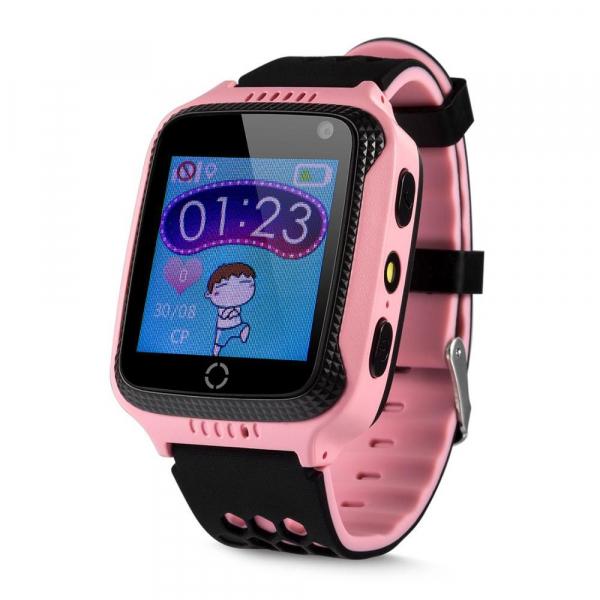 Ceas smartwatch GPS copii MoreFIT™ GW500x Pro , cu GPS si functie telefon, camera foto + lanterna, monitorizare spion, buton SOS, roz + SIM prepay cadou 0