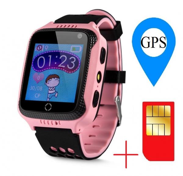 Ceas smartwatch GPS copii MoreFIT™ GW500x Pro , cu GPS si functie telefon, camera foto + lanterna, monitorizare spion, buton SOS, roz + SIM prepay cadou 1