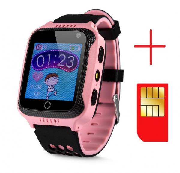 Ceas smartwatch GPS copii MoreFIT™ GW500x Pro , cu GPS si functie telefon, camera foto + lanterna, monitorizare spion, buton SOS, roz + SIM prepay cadou 2