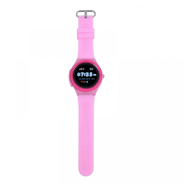 "Ceas smartwatch GPS copii MoreFIT™ KT06 , cu GPS si functie telefon, Wi-Fi, monitorizare spion,display touchscreen color 1.3"", rezistent la apa IP67, buton SOS, vibratii, roz + SIM prepay cadou 1"