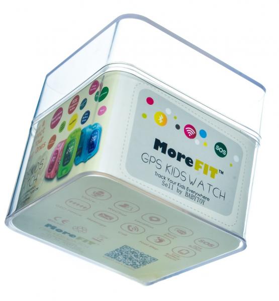 "Ceas smartwatch GPS copii MoreFIT™ KT07 , cu GPS si functie telefon, Wi-Fi, monitorizare spion,display touchscreen color 1.3"", rezistent la apa IP67, buton SOS, vibratii, alb/gri 1"