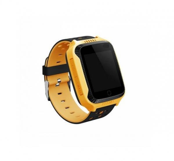 Ceas smartwatch GPS copii MoreFIT™ MX528, cu GPS prin lbs si functie telefon, localizare camera foto laterala, monitorizare spion, display touchsreen color, lanterna,buton SOS/apel, Galben+SIM prepay 0