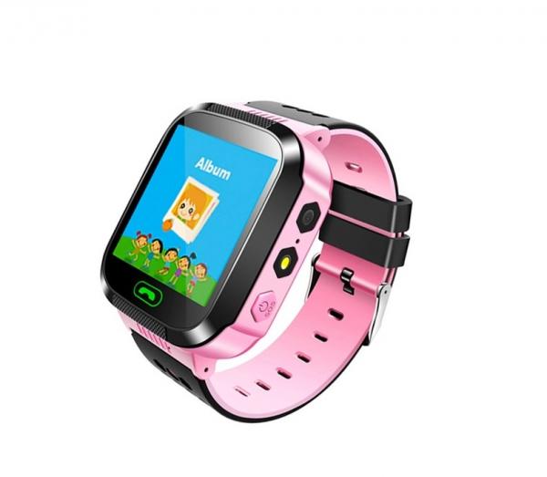 Ceas smartwatch GPS copii MoreFIT™ MX529, cu GPS prin lbs si functie telefon, localizare camera foto, monitorizare spion, display touchsreen color, lanterna, buton SOS, Roz +SIM prepay cadou [1]