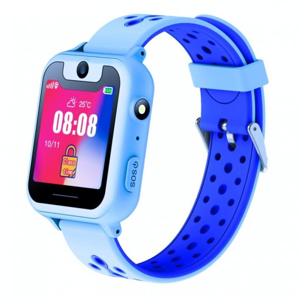 Ceas smartwatch GPS copii MoreFIT™ MX600, functie telefon, monitorizare GPS, localizare camera foto, monitorizare spion, touchscreen, lanterna, buton SOS, perimetru siguranta, albastru+ SIM prepay ca 0