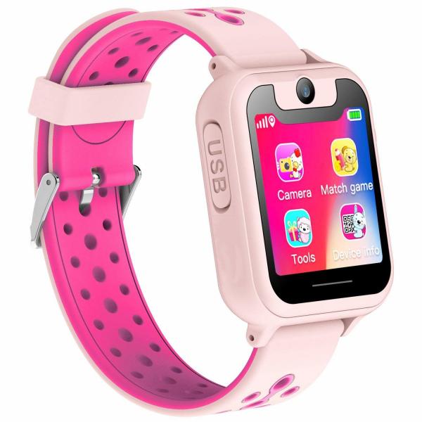 Ceas smartwatch GPS copii MoreFIT™ MX600, functie telefon, monitorizare GPS, localizare camera foto, monitorizare spion, touchscreen, lanterna,  buton SOS, perimetru siguranta , roz + SIM prepay cadou [0]