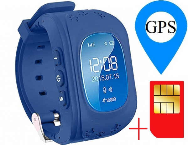 Ceas smartwatch GPS copii MoreFIT™ Q50, functie telefon, monitorizare GPS in timp real , Wi-FI, buton SOS si monitorizare spion, Bleumarin +SIM prepay cadou 1
