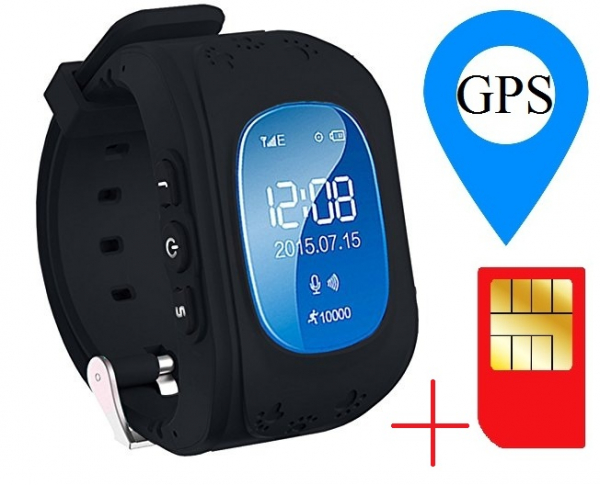 Ceas smartwatch GPS copii MoreFIT™ Q50, functie telefon, monitorizare GPS in timp real , Wi-FI, buton SOS si monitorizare spion, negru + SIM prepay cadou 1