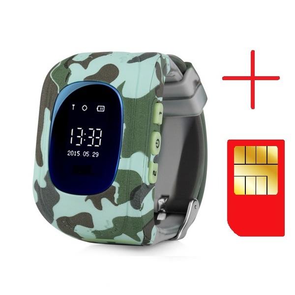 Ceas smartwatch GPS copii MoreFIT™ Q50, functie telefon, monitorizare GPS in timp real , Wi-FI, buton SOS si monitorizare spion, verde camo + SIM prepay cadou 3