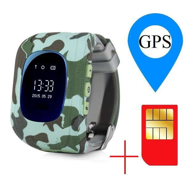 Ceas smartwatch GPS copii MoreFIT™ Q50, functie telefon, monitorizare GPS in timp real , Wi-FI, buton SOS si monitorizare spion, verde camo + SIM prepay cadou 1