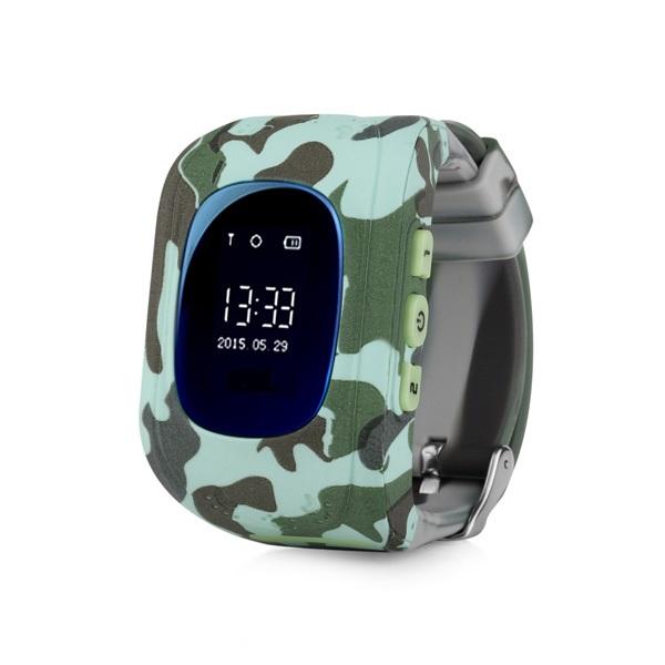 Ceas smartwatch GPS copii MoreFIT™ Q50, functie telefon, monitorizare GPS in timp real , Wi-FI, buton SOS si monitorizare spion, verde camo + SIM prepay cadou 0