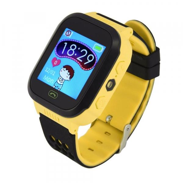Ceas smartwatch GPS copii MoreFIT™ Q528, cu GPS prin lbs si functie telefon, localizare camera foto, monitorizare spion, display touchsreen color, lanterna,buton SOS, Galben 3