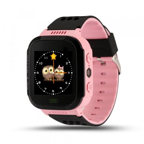 Ceas smartwatch GPS copii MoreFIT™ Q529, cu GPS prin lbs si functie telefon, localizare camera foto, monitorizare spion, display touchsreen color, lanterna, buton SOS, Roz + SIM prepay cadou 0