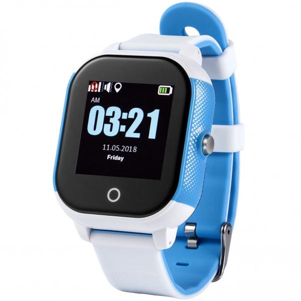 Ceas smartwatch GPS copii sau adultii MoreFIT™ Gw700s, cu GPS si functie telefon,Wi-Fi, monitorizare spion, buton SOS, Alb/Albastru 0