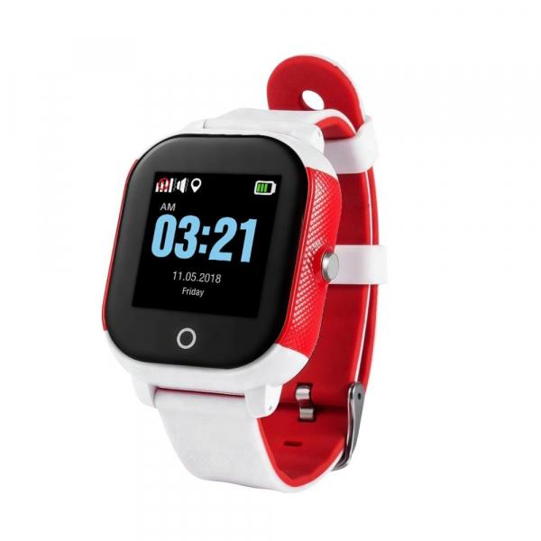 Ceas smartwatch GPS copii sau adultii MoreFIT™ Gw700s, cu GPS si functie telefon,Wi-Fi, monitorizare spion, buton SOS, Alb/Rosu 0