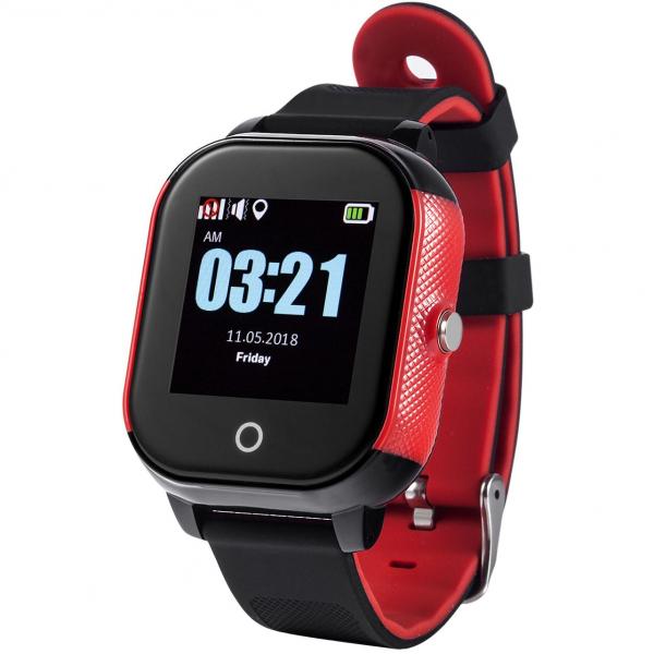 Ceas smartwatch GPS copii sau adultii MoreFIT™ Gw700s, cu GPS si functie telefon,Wi-Fi, monitorizare spion, buton SOS, Rosu/negru [0]