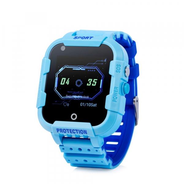 """Ceas smartwatch GPS copii sau adultii MoreFIT™ KT12, GPS, apelare video, 4G, camera 2MP, Wi-FI si functie telefon, ecran touchscreen 1.4"""", buton SOS, albastru + SIM prepay cadou 1"""