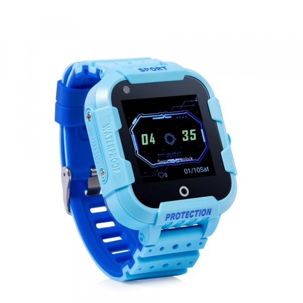 """Ceas smartwatch GPS copii sau adultii MoreFIT™ KT12, GPS, apelare video, 4G, camera 2MP, Wi-FI si functie telefon, ecran touchscreen 1.4"""", buton SOS, albastru + SIM prepay cadou 0"""