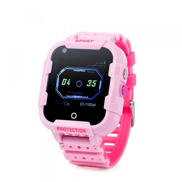 "Ceas smartwatch GPS copii sau adultii MoreFIT™ KT12, GPS, apelare video, 4G, camera 2MP, Wi-FI si functie telefon, ecran touchscreen 1.4"", buton SOS, Roz + SIM prepay cadou 0"