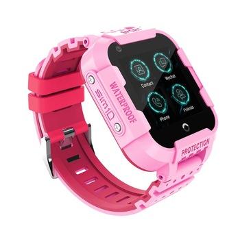 "Ceas smartwatch GPS copii sau adultii MoreFIT™ KT12, GPS, apelare video, 4G, camera 2MP, Wi-FI si functie telefon, ecran touchscreen 1.4"", buton SOS, Roz + SIM prepay cadou 1"