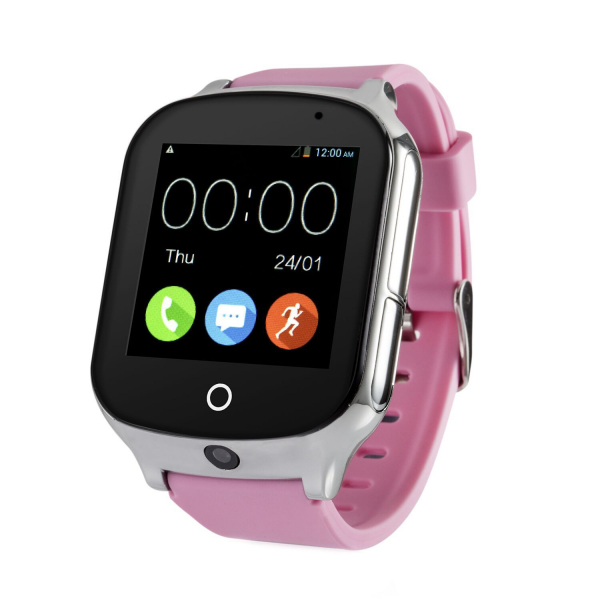 Ceas smartwatch GPS copii si adulti MoreFIT™ GW1000s 3G, cu GPS si functie telefon, camera 1.3MP, Wi-Fi, bluetooth, buton SOS, ecran touchscreen 1.54 inch, monitorizare spion, argintiu si curea din si 0