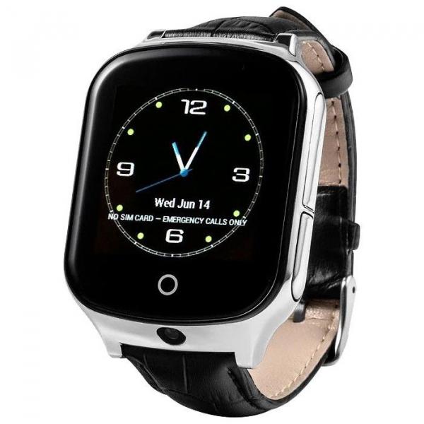 Ceas smartwatch GPS copii si adulti MoreFIT™ GW1000s 3G, cu GPS si functie telefon, camera 1.3MP, Wi-Fi, bluetooth, buton SOS, ecran touchscreen 1.54 inch, monitorizare spion, argintiu si curea din pi [2]