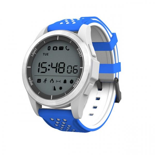 Ceas Smartwatch MoreFIT™ F3 Plus Sport, autonomie 12 luni, rezistent la apa ip67, Android/iOS, notificari apeluri, sms, barometru, altitudine, alb/albastru 0