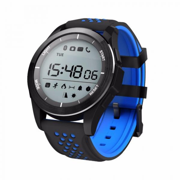 Ceas Smartwatch MoreFIT™ F3 Plus Sport, autonomie 12 luni, rezistent la apa ip67, Android/iOS, notificari apeluri, sms, barometru, altitudine, negru/albastru 0