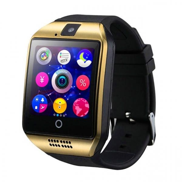"Ceas Smartwatch MoreFIT™  Q18 Plus Pro, cu sim, display 1.54"", camera foto, carcasa metalica, ecran curbat, NFC, BT 3.0, auriu 0"