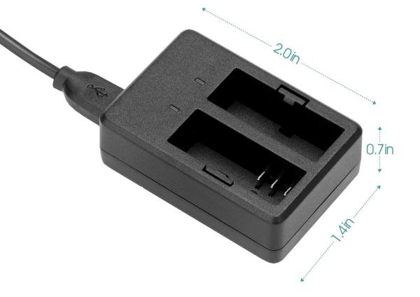 Incarcator acumulatori dublu EKEN , SJCam , cablu USB , negru 0