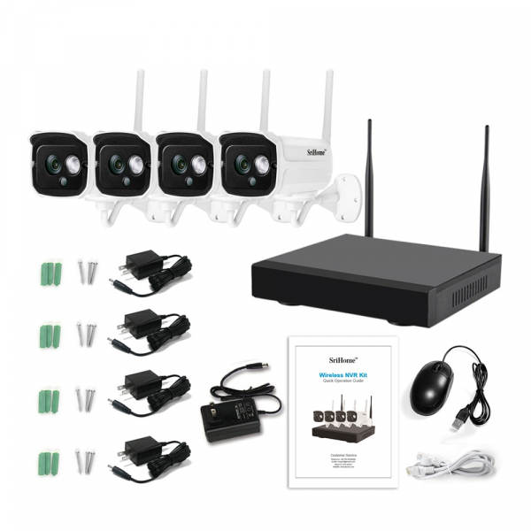 Kit supraveghere video Sricam™ NVS002 WI-FI, 2MP FullHD 1080p, rezistent la apa, hotspot, NVR, night vision 1