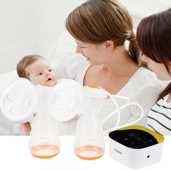 Pompa de san electrica dubla Doopser DPS-002 Premium , cu acumulator si biberon cu senzor de temperatura , LED touch screen , stimulare (masaj) si extragere , zgomot redus [3]