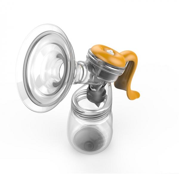Pompa de san manuala Doopser Premium , alaptare naturala , cupa silicon , biberon cu senzor de temperatura si tetina , 2 niveluri ajustabile , stimulare (masaj) si extragere , alb/gold 2
