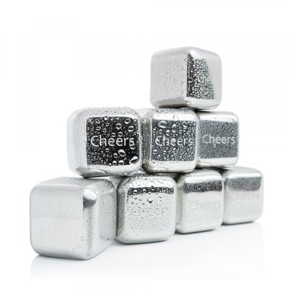 Set 8 cuburi gheata reutilizabile Fridall™, pentru racirea bauturilor fara a pierde gustul, otel inoxidabil, cleste, cutie depozitare, argintiu 2