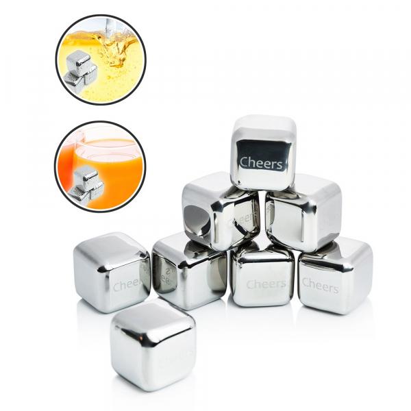 Set 8 cuburi gheata reutilizabile Fridall™, pentru racirea bauturilor fara a pierde gustul, otel inoxidabil, cleste, cutie depozitare, argintiu 4