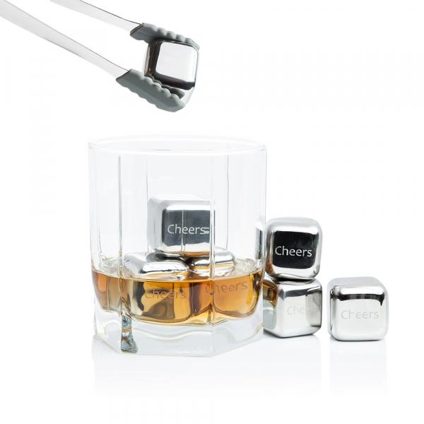 Set 8 cuburi gheata reutilizabile Fridall™, pentru racirea bauturilor fara a pierde gustul, otel inoxidabil, cleste, cutie depozitare, argintiu 1