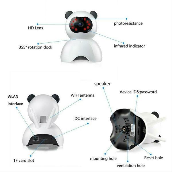Set Baby Monitor Wireless BabyToy™ AR18 , monitorizare video audio bebelusi , vedere nocturna, sunet bidirectional, functie push to talk, rotire automata, FullHD 1920*1080, camera 2.0 MP, senzor misca 4