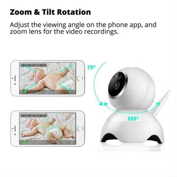 Set Baby Monitor Wireless BabyToy™ AR19 , monitorizare video audio bebelusi , vedere nocturna, sunet bidirectional, functie push to talk, rotire automata, HD 1280*720, 1.0 MP, senzor miscare, alb + st 3