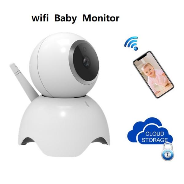Set Baby Monitor Wireless BabyToy™ AR19 , monitorizare video audio bebelusi , vedere nocturna, sunet bidirectional, functie push to talk, rotire automata, HD 1280*720, 1.0 MP, senzor miscare, alb + st 2