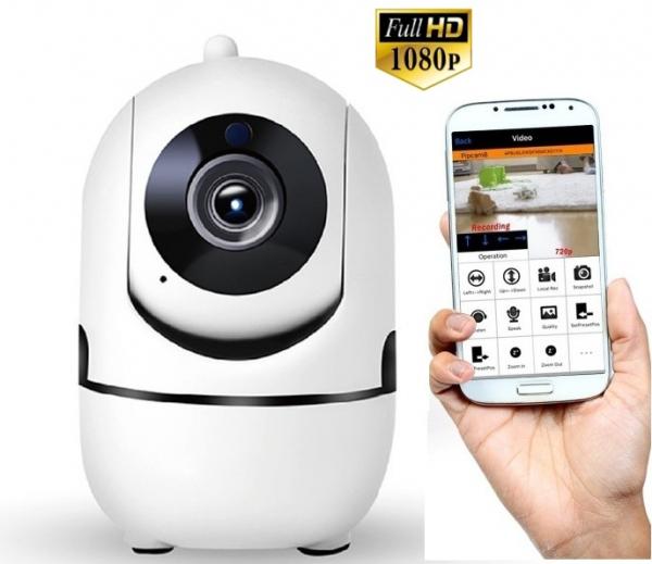 Set Baby Monitor Wireless BabyToy™ AR26 , Monitorizare Video Audio Bebelusi , Vedere Nocturna, Sunet Bidirectional, Functie Push To Talk, Rotire Automata, Full HD 2MP 1920*1080, Senzor Miscare, Alb +  0