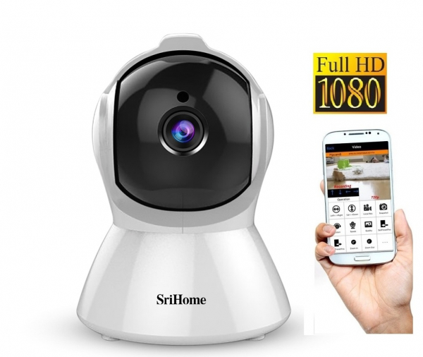 Set Baby Monitor Wireless Sricam™ SH025 Plus SriHome , FullHD 2MP, Monitorizare Video Audio Bebelusi , Auto Tracking, Vedere Nocturna, Audio-Video, Sunet bidirectional, Rotire automata, rezolutie 1920 [0]
