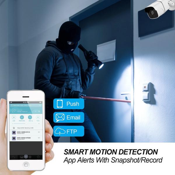 "Set Camera de supraveghere exterior IP WIFI BabyToy™ AG09, FullHD 2MP 1080p, Conectare Telefon / PC , Night Vision, rezistenta la apa, senzor miscare, alb + sticker ""obiectiv supravegheat video"" [5]"