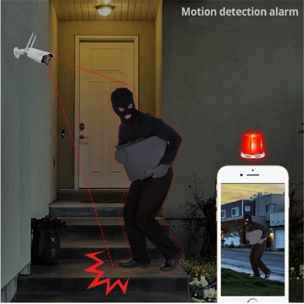 "Set Camera de supraveghere IP WIFI BabyToy™ AG02 , Exterior , Conectare Telefon / PC , night vision color, rezistenta la apa, FullHD 1920*1080, camera 2.0 MP, senzor miscare, alb + sticker ""obiectiv s [4]"