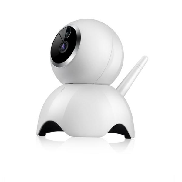 """Set Camera de supraveghere IP WIFI BabyToy™ AG19 , Conectare Telefon / PC, Night vision, Rotire automata, HD 1280*720, camera 1.0 MP, senzor miscare, alb + sticker """"obiectiv supravegheat video"""" 1"""
