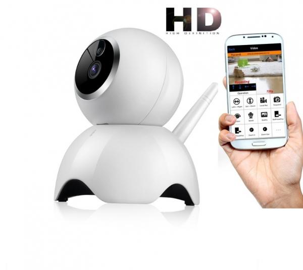 """Set Camera de supraveghere IP WIFI BabyToy™ AG19 , Conectare Telefon / PC, Night vision, Rotire automata, HD 1280*720, camera 1.0 MP, senzor miscare, alb + sticker """"obiectiv supravegheat video"""" 0"""