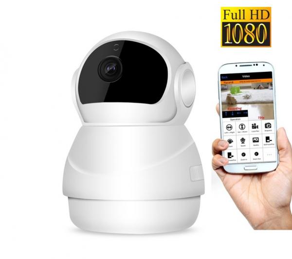 """Set Camera de supraveghere IP WIFI BabyToy™ AG24 , Full HD 2MP, Night vision, Conectare telefon / PC , Rotire automata, rezolutie 1920*1080 , senzor miscare, alb + sticker """"obiectiv supravegheat video 0"""